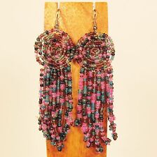 "3"" Pink Blue Multi Color Long Handmade Dangle Seed Bead Hook Earring"