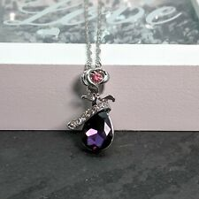 Silver Plated Rose Flower With Purple And Pink Crystal Pendant Necklace