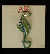 ANNE KLEIN SEAHORSE PIN BROOCH - SILVER WITH BLUE AND GREEN ENAMEL NEW