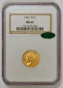 1926 $2.50 Indian Head U.S. Quarter Eagle Gold Coin, Graded MS62 by NGC with CAC