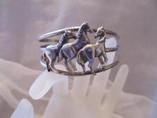 Vintage Carol Felley 3 Horse Sterling Silver Wide Cuff Bracelet Designer Signed
