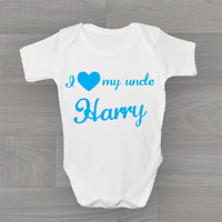 Personalised I Love My Uncle, Baby Grow Body Suit Vest