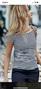 Boden Navy And White Striped Ruched Off Shoulder Top UK 8R