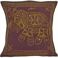 Elephant Cushion Cover Indian Plum Brown Handmade Cotton Embroidered Sequin 38cm