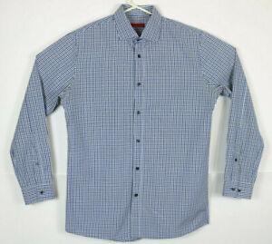 Hugo Boss Mens 15 1/2 Blue White Plaid Checks Long Sleeve Casual Shirt