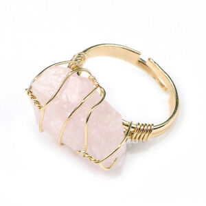 Natural Raw Rough Cut Crystal Quartz Wire Wrap Open Adjustable Ring Gift