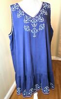 Skies Are Blue women's tunic dress embroidered sleeveless 1X women's