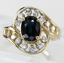 Diamond sapphire ring 14K yellow gold oval round brilliant swirl 1.95CT sz 5 1/2