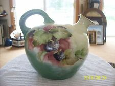 Porcelain Antique Whisky Corn Ball Jug Pitcher HandPainted Blueberry & Raspberry