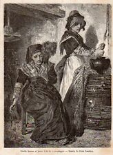 63  VIEILLE FEMME ET JEUNE FILLE DE LA MONTAGNE IMAGE 1866 OLD PRINT