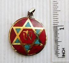 Old Tibet Tibetan Silver & Red Coral Buddhist Amulet Eternal Om & Hexagram