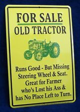 TRACTOR FOR SALE - *US MADE* Embossed Metal Tin Sign - Garage Barn Shop Man Cave