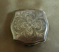 Vintage STRATTON Silver Color Engraved Square Trinket Pill Box
