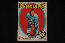VAL FONTEYNE 1971-72 O-PEE-CHEE SIGNED AUTOGRAPHED CARD #189 PITTSBURGH PENGUINS