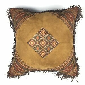 """Croscill PAYSON 18"""" X 18"""" Square Pillow Fringe Diamonds Brown Orange Rustic $85"""