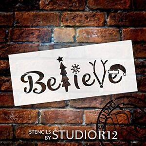 """Believe - Tree, Snowflake, Reindeer, Hat- Word Art Stencil - 12"""" x 5"""" -..."""