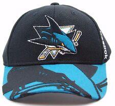d9d51418ba4 San Jose Sharks Reebok NHL Structured Flexfit Center Ice Logo Brim Hat Cap  S m