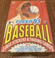 FLEER 1991 BASEBALL CARDS & Stickers 36 FACTORY SEALED PACKS - UNOPENED Wax Box