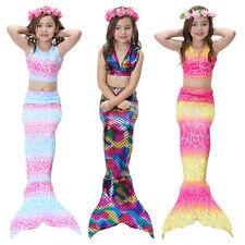 New Kids Girls 3Pcs Mermaid Tail Swimming Bikini Set Swimwear Mono Fin Swimmable