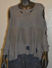 PRISA COTTON KNIT HOLEY PULLOVER POCKET BLOUSE SWEATER TAUPE OLIVE O/S 18 $289