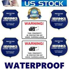 BRINKS HOME SECURITY ALARM OUTDOOR STICKERS+WARNING VIDEO CAMERAS IN USE DECALS