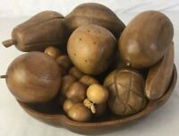 Vintage Wooden Fruit and Bowl 12 Pieces and Bowl Mid Century Modern Decor MCM