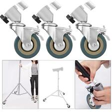 Heavy Duty Castor Wheels x3 Rubber Swivel Brake Photo Studio Tripod Light Stand