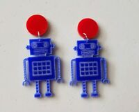 Retro toy inspired robot blue etched acrylic statement dangles red pad