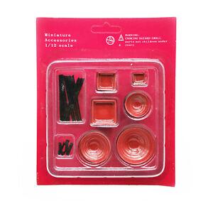 Dollhouse Tableware Set Red Black Bowls Chopsticks 1:12 Miniature Accessories