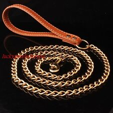 Stainless Steel Dog Pet Gold Cuban Link Chain Leash Brown Leather Handle Clip