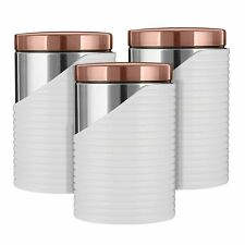 Kitchen Accessories Set - TOWER Rose Gold WHITE LINEAR Set of  3 Canisters
