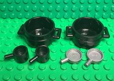 Lego New Black Cauldron,sauce Pot,silver Frying Pans X6 Kitchen Cooking Utensil