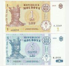 Moldavie 1 5 Lei 2009 2015 UNC Universel Banknote Set - 2 pcs