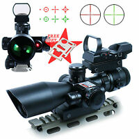 Tactical 2.5-10X40 Rifle Scope Red Laser&Holographic Green laser With Cardknife