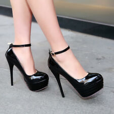 Womens High Heel Platform Sandals Sexy Stiletto Ankle Strap Buckle Shoes UK