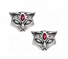 Ladies Girls Cat Shape Stud Earrings Pewter Sacred Cat Gothic Design By Alchemy