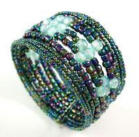 Rainbow Color Seed Beads Memory Wire Cuff Bracelet Handmade Women Jewelry  FA068
