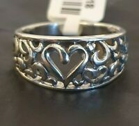 Ladies 925 Sterling Silver Filigree Openwork Heart Love Band Ring Size O