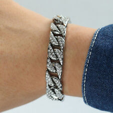 Curb Cuban Womens Mens Bracelet Chain White Gold Filled GF Iced Out Hip Hop 14mm