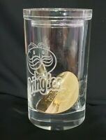 RARE Pringles Crystal Etched Glass Container with a Golden Chip Executive Prize