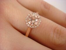 14K ROSE GOLD GENUINE 0.75 CT  PEACH MORGANITE AND DIAMOND HALO LADIES RING