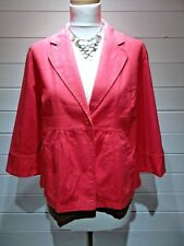 M&S Jacket ~ Size 14  ~ Red ~ Button fastening ~ 1/2 sleeve ~ 1736