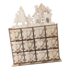 Wooden Advent Calendar Festival Christmas Table Storage Box with 24 Drawers