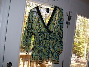 Bisou Bisou Womens Sz L Geometric Print V Neck Sheer Chiffon Top Shirt Blouse