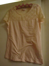 Short Sleeve Stretch Cotton Peach Pink H&M See Through Lace Section Top Size 16