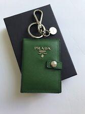 NEW PRADA MILANO GOLD BLACK HEART LOGO KEY CHAIN KEY HOLDER RING W/BOX