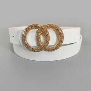 Women Waist Belts Buckle Pu Leather Double Ring Rhinestone Cintos Corset Bands