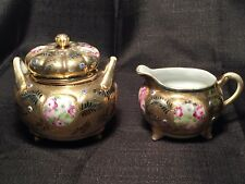 Nippon Footed Gold Creamer & Sugar Set - Hand Painted Roses Jewels Gold Beading