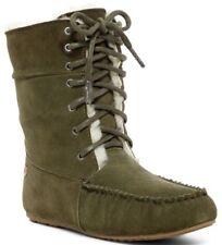 EMU Australia Women's Brooklyn Genuine Sheepskin Boots Suede KHAKI Size 7 NIB