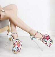 womens Ladies 19.5cm Stiletto High Heel Platform Flower Strap Sexy Pumps Shoes